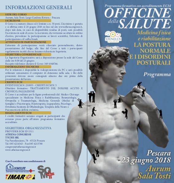 La postura normale e i disordini posturali, un corso a Pescara