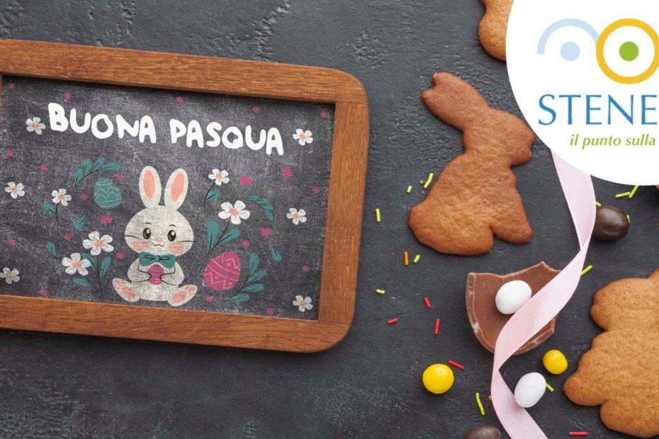 buona pasqua scritto su lavagna con un coniglietto disegnato